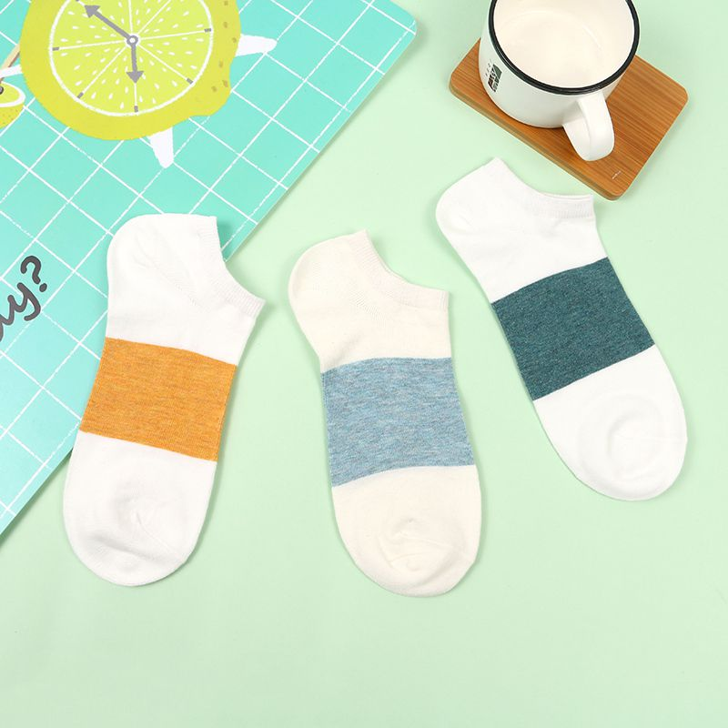 Casual Style Spliced Color Short Socks for Women (3 Pairs)