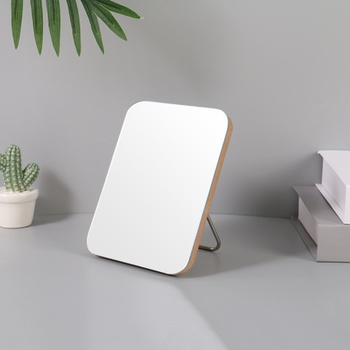 Medium-Sized Rounded Corner Tabletop Mirror with Wooden Frame