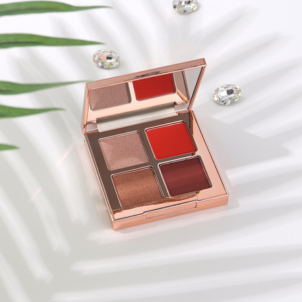 Multi-Effect 4-Color Eyeshadow 3#Shimmery Orangish Red