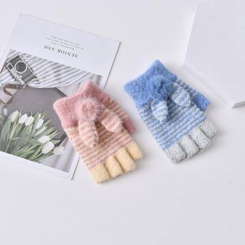Rabbit Ears Half-Finger Gloves with Fluffy Ball for Children