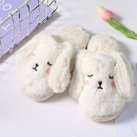 Rabbit Fluffy Slippers for Children-White(31/32)