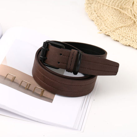 Retro Style Double-Pin Buckle PU Belt for Men (Coffee)