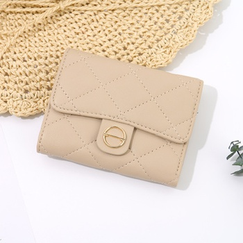 Rhombus Stitching 3-Fold Short Wallet for Women (Apricot)
