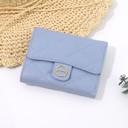 Rhombus Stitching 3-Fold Short Wallet for Women (Blue)