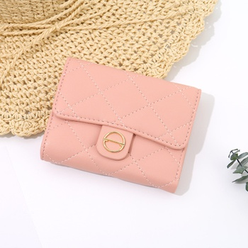 Rhombus Stitching 3-Fold Short Wallet for Women (Pink)