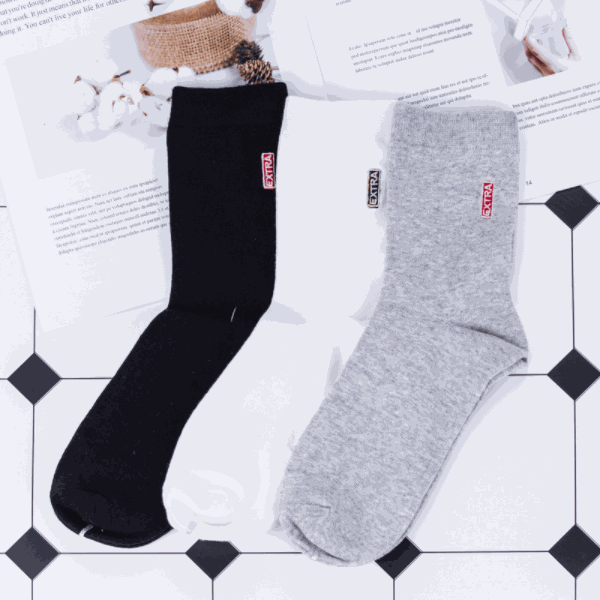 Simple Style Embroidery Mid-Calf Socks for Men (2 Pairs)