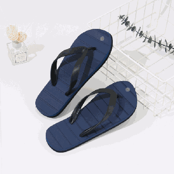 Simple Style Grooved Flip Flops for Men (Dark Blue)(44/45)