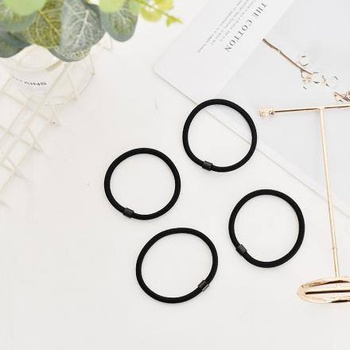Simple Style Hair Rope (4 Pcs)(Black)