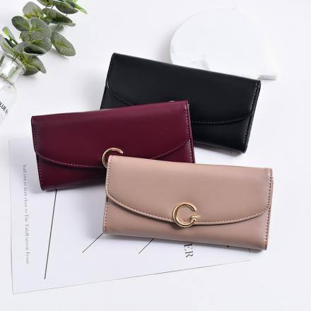 Simple Style Long Wallet for Women with Metal Buckle
