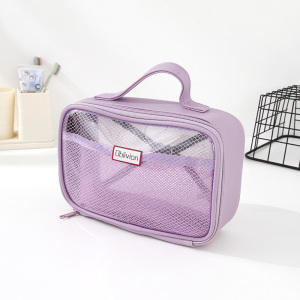 Simple Style Mesh Toiletries Storage Organizer Bag with Carrying Strap (Purple)