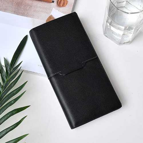 Stitching Leather Long Wallet for Men