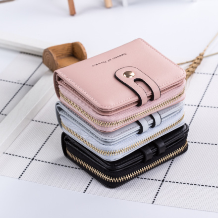 Stylish 2-in-1 Card Purse Wallet with Zipper
