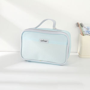 [XVBSP02125] Clear Mesh Toiletries Storage Organizer Bag with Carrying Strap (Blue)