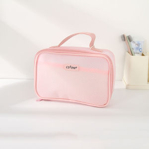 Clear Mesh Toiletries Storage Organizer Bag with Carrying Strap (Pink)