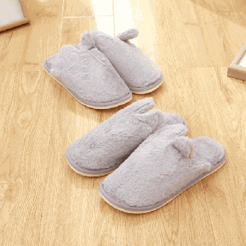 [XVSPF01600] Closed Toe Plush Slipper for Men-Gray(41/42)