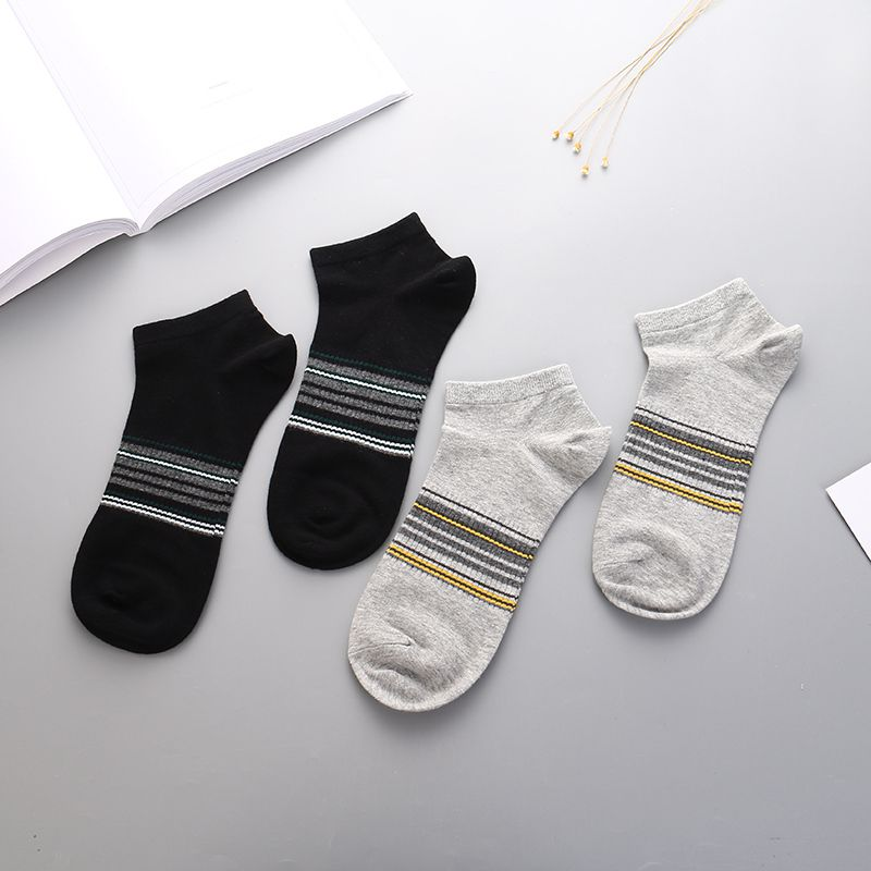 Colorful Stripes Low-Cut Socks for Men (2 Pairs)
