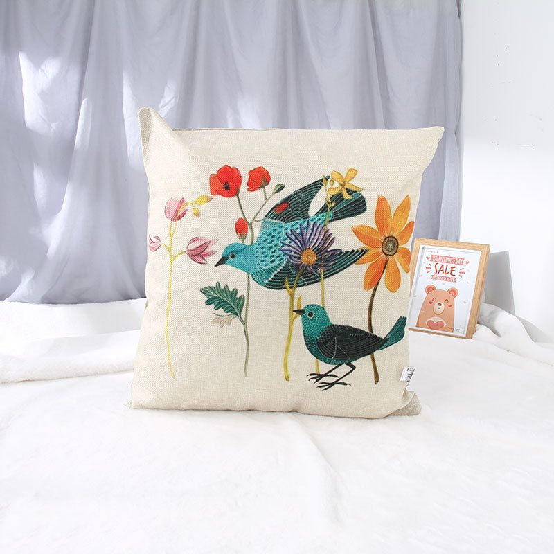 Cotton Linen Throw Pillow (Blossoms&Affection)