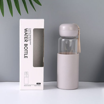[XVHIC01134] Creative Heat-Resistant Glass Water Bottle (Gray)