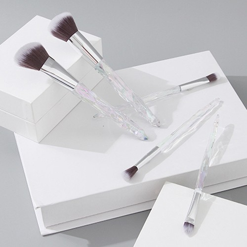 Crystal Diamond Cut Series Makeup Brush (5 Count)(Clear Silver)