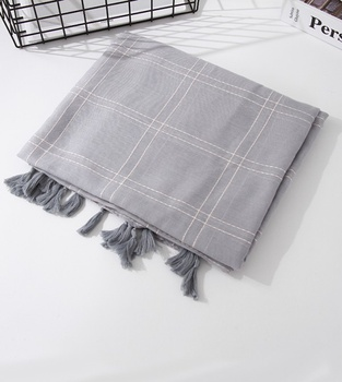 [XVSPS01767] Elegance Solid Color Plaid Thin Scarf (Gray)