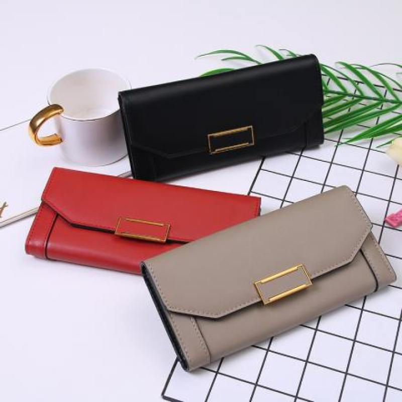 Elegant Metal Buckle Long Wallet for Women