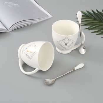 European Style Gold Deer Ceramic Mug with Stainless Steel Spoon (White)