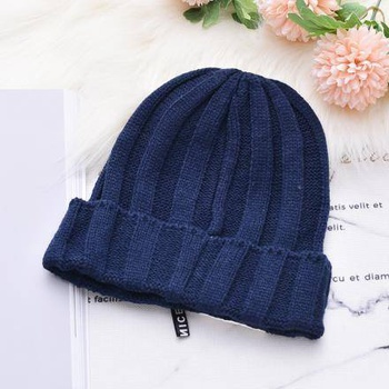 [XVSPH01658] Fashion Elements Fabrics Knit Hat (Navy)