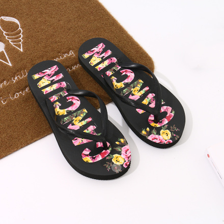 Floral Letters Print Flip Flops for Women (Black)(37/38)