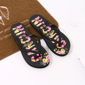 [XVSPS01573] Floral Letters Print Flip Flops for Women (Black)(37/38)