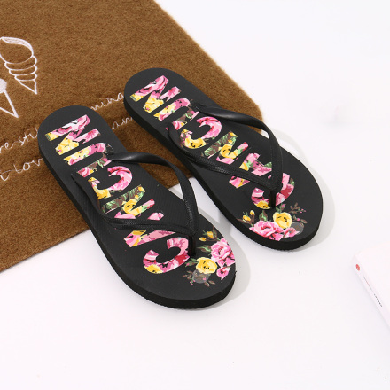 Floral Letters Print Flip Flops for Women (Black)(39/40)