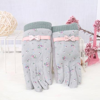 [XVSPCP01537] Floral Pattern Bowknot Gloves for Children-Green