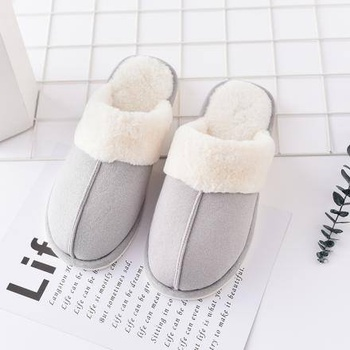 [XVSPF01615] Fluffy Closed Toe Slipper for Men-Gray(41/42)