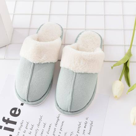 Fluffy Closed Toe Slipper for Women-Bluish Green(37/38)