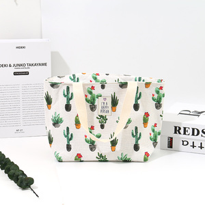 [XVBSP00074] Fresh Style Cactus Pattern Lunch Bag (Apricot)