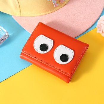 [XVBW00120] Funny Eyes Patch 3-Fold Short Wallet for Women (Orange)
