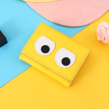 [XVBW00121] Funny Eyes Patch 3-Fold Short Wallet for Women (Yellow)