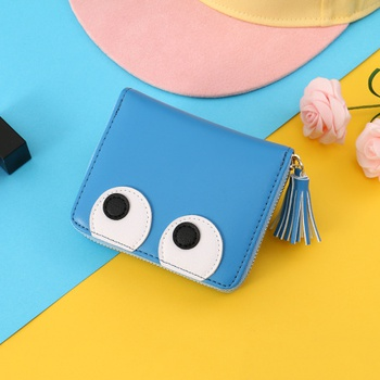 [XVBW00122] Funny Eyes Patch Zippered Short Wallet for Women (Blue)
