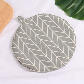 [XVHIKS01185] Geometry Pattern Round Pot Mat (Gray)