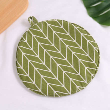 Geometry Pattern Round Pot Mat (Green)
