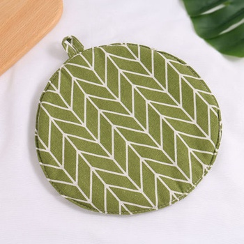 [XVHIKS01186] Geometry Pattern Round Pot Mat (Green)