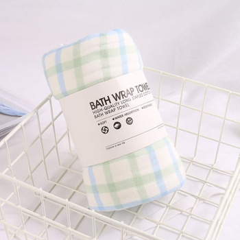 [XVHITP01023] Girl Embroidery Stitching Bath Wrap Towel (Blue)