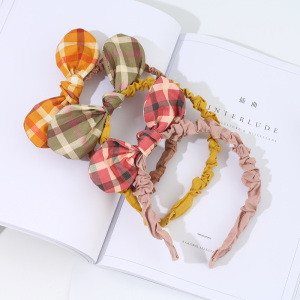 [XVFAHB00441] Girlish Plaid Bowknot Hairband