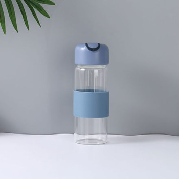 [XVHIC01136] Glass Water Bottle with Anti-Scald Sleeve (Blue)