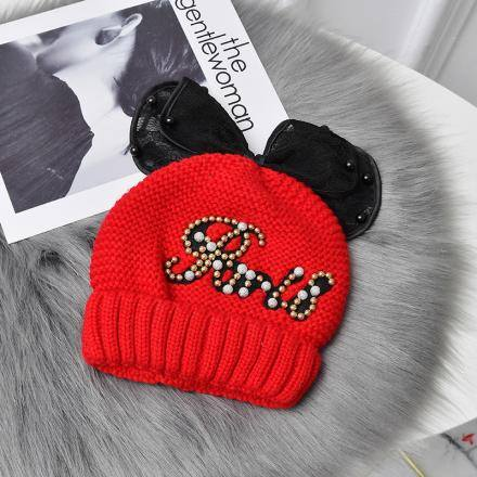 Goddess Lace Knit Hat-red