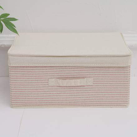Large-Sized Ramie Cotton Striped Storage Box(Red)