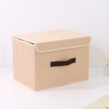 Large-Sized Simple Style Linen-Like Storage Container (Khaki)