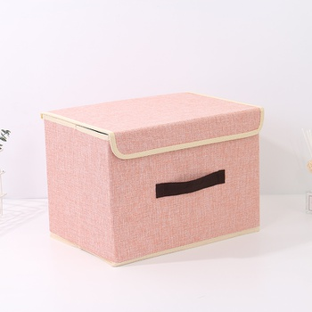 Large-Sized Simple Style Linen-Like Storage Container (Pink)