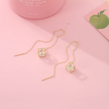 Stylish Cube Dangle Threader Earrings