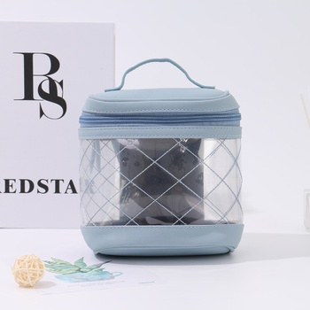 Stylish Rhombus Stitching Clear Round Makeup Bag (Blue)