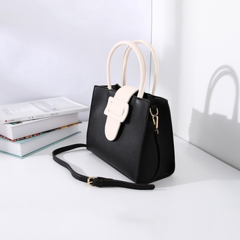Stylish Vogue Handbag with Large Buckle for Women (Black and White)